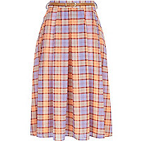 Pink check full midi skirt