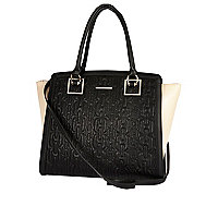 Black contrast gusset quilted tote bag