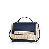 Navy woven panel messenger bag