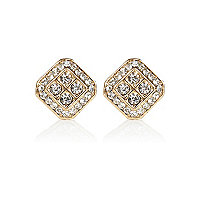 Gold tone encrusted square stud earrings