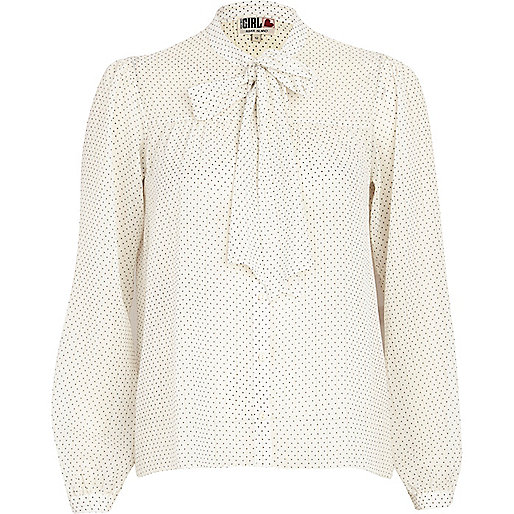 Cream Chelsea Girl polka dot blouse