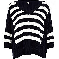 Blue stripe panel slouchy V neck jumper