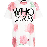 White floral who cares oversized t-shirt