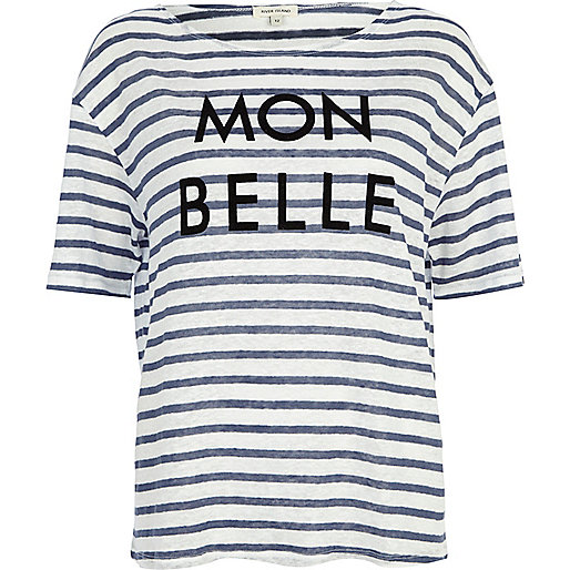 Blue stripe mon belle linen t-shirt