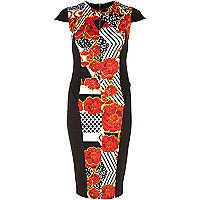 Red oriental print cut out pencil dress