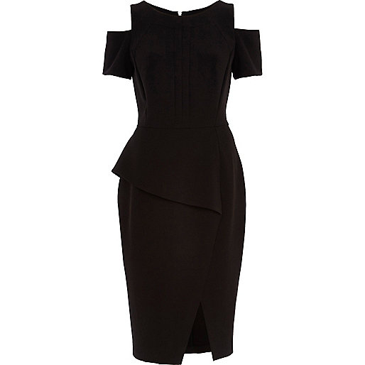 Black cold shoulder pencil dress