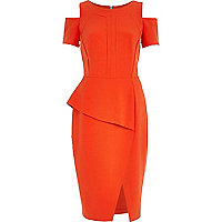 Orange cold shoulder pencil dress