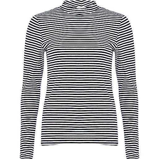 Navy stripe turtle neck top