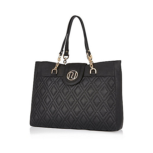 Black quilted chain strap tote bag