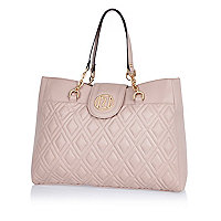 Light pink quilted chain strap tote bag