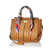 Tan scarf handle woven tote bag