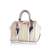 White scarf handle woven tote bag