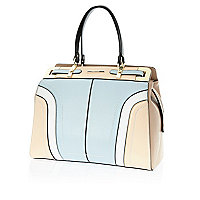 Light blue colour block structured tote bag