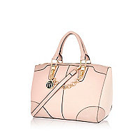 Light pink chain trim bowler bag