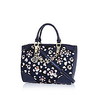 Navy floral print chain trim bowler bag