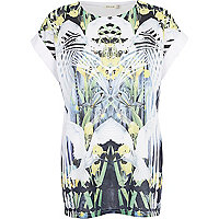 White mirrored Dove print oversized t-shirt