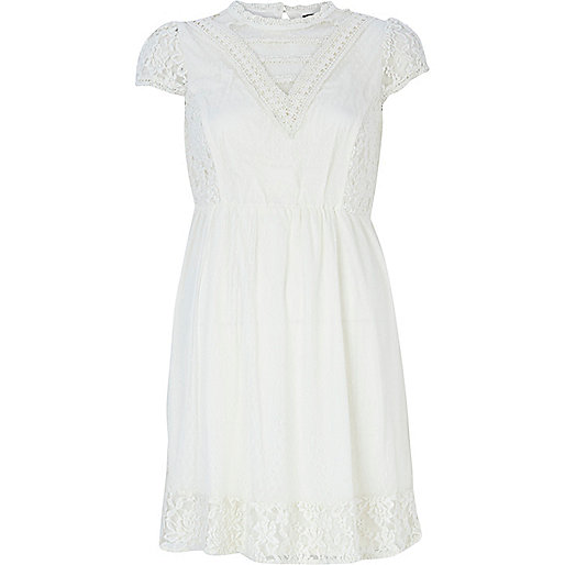 Cream cap sleeve Victoriana dress