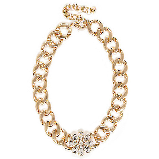 Gold tone flower curb chain necklace