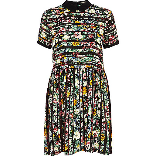 Green striped floral print smock dress