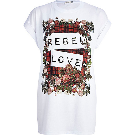 White rebel love front print t-shirt