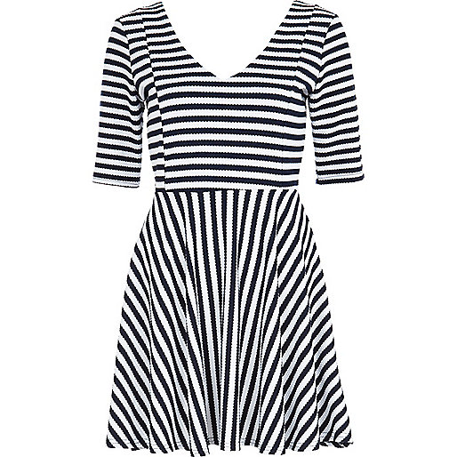 Navy textured stripe skater dress