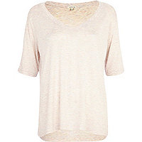 Light pink marl oversized V neck t-shirt