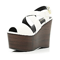 White cross strap extreme flatforms