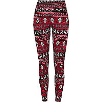 Red Reindeer print leggings