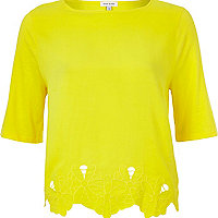 Yellow cut out embroidered boxy t-shirt