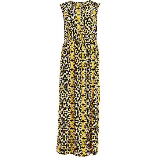 Yellow abstract print sleeveless maxi dress