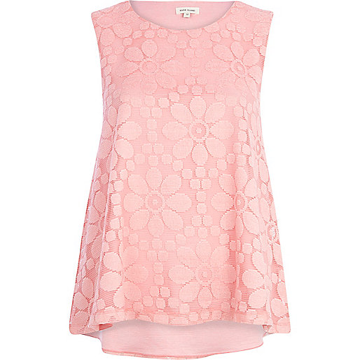 Pink daisy lace shell top