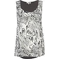 White blurred zebra print woven vest