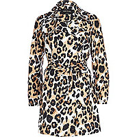 Brown graphic animal print trench coat