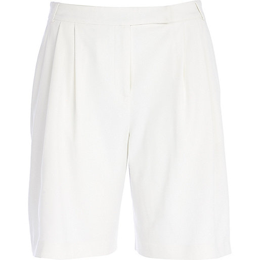 White soft smart long shorts