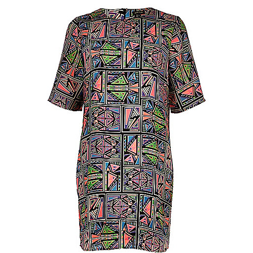 Black aztec print t-shirt dress