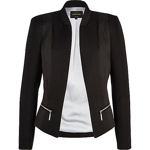 Black embossed panel blazer