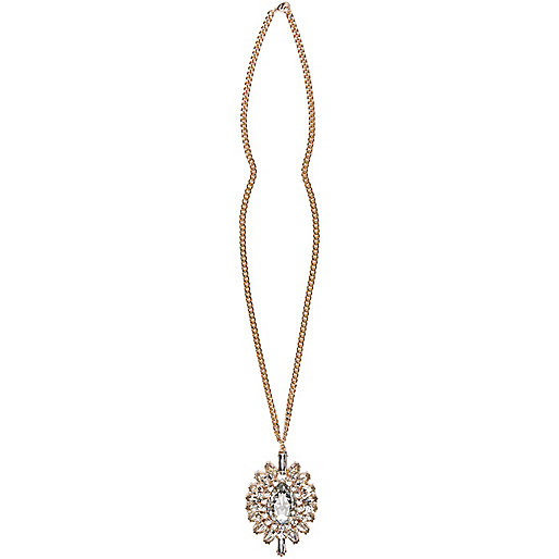 Gold tone clustered pendant necklace