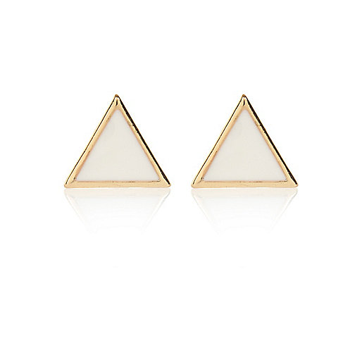 White triangle stud earrings