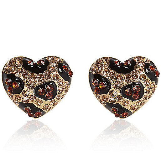 Gold tone diamante leopard heart earrings