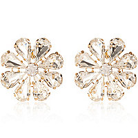 Clear gem stone flower stud earrings