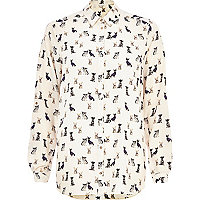 Cream dog print oversized shirt