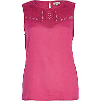 Pink embroidered panel tank top