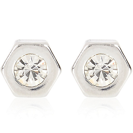 Silver tone diamante bolt stud earrings