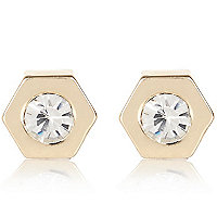 Gold tone diamante bolt stud earrings
