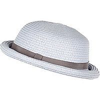 Light blue straw bowler hat
