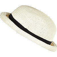 Cream straw bowler hat