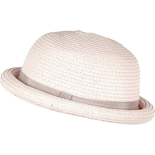 Light pink straw bowler hat