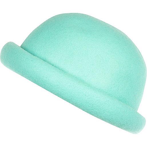 Aqua rolled brim bowler hat