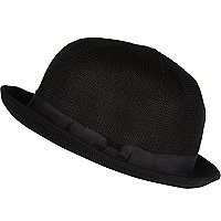 Black soft bowler hat