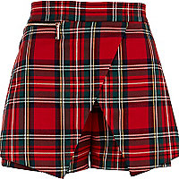 Red tartan smart skort